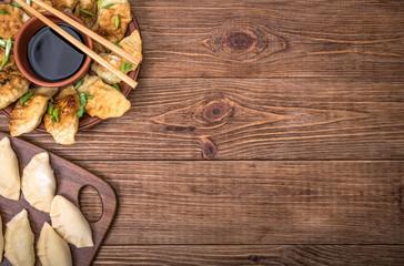Keuken foto achterwand Koken Homemade сhicken potstickers with soy sauce.