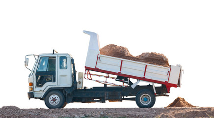 dumper truck in  the construction site isolate on white backgrou