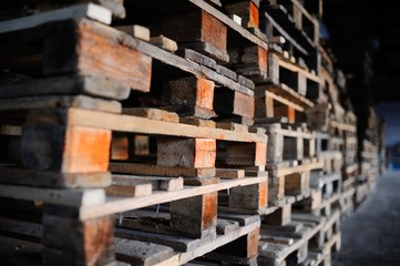 background wooden pallets. furniture from pallets