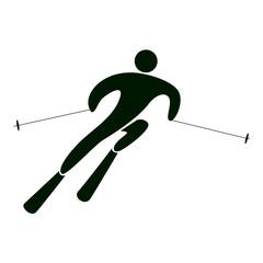 Isolated slalom icon on white background. Extreme winter sport.