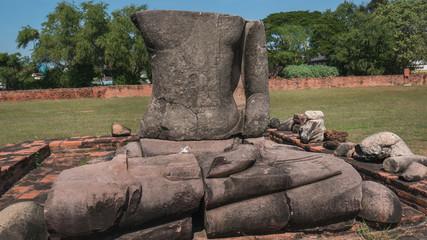 Ruin Buddha statue in Ayutthaya, Thailand