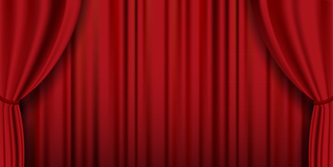 Red theater heavy curtain vector background - wide screen versio