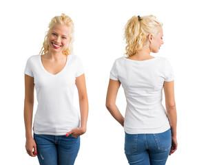 Woman in white V-neck T-shirt