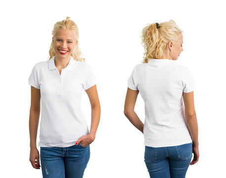 Woman in white polo T shirt