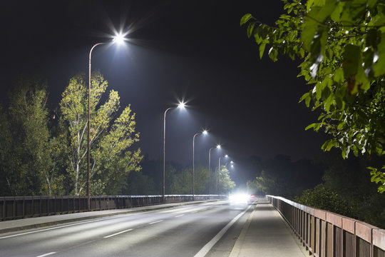road bridge at night