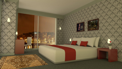 Classic hotel room with skyline by night 3D rendering