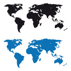 World map. Silhouette. Terrain. Earth. For your design.