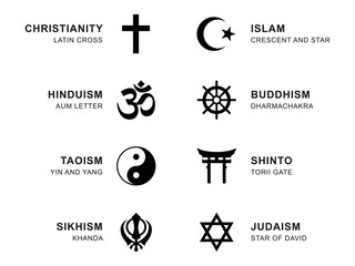 World religion symbols. Eight signs of major religious groups and religions. Christianity, Islam, Hinduism, Buddhism, Taoism, Shinto, Sikhism and Judaism, with English labeling. Illustration. Vector. Wall mural