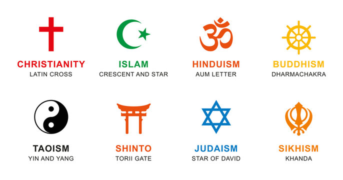 World religion symbols colored. Signs of major religious groups and religions. Christianity, Islam, Hinduism, Buddhism, Taoism, Shinto, Sikhism and Judaism, with English labeling. Illustration. Vector
