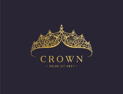 Abstract luxury, royal golden company logo icon vector design.