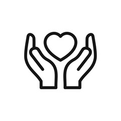 hands holding heart icon illustration
