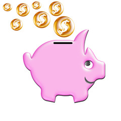 Piggy moneybox with coins