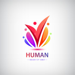 Vector human logo, group of people colorful icon, teamwork