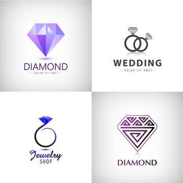 Vector set of jewellery logos. Ring, wedding