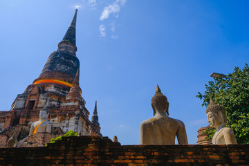 Old pagoda with Blue Sky background at Wat Yai Chai Mongkhon Old Temple in Ayutthaya Historical Park Thailand.