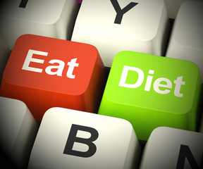 Eat Diet Keys Showing Fiber Exercise Fat 3d Rendering
