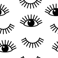Eye and eyelash seamless pattern vector