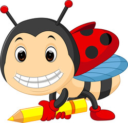 Cartoon ladybug holding pencil