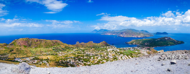 Landscape view of Lipari islands taken from Volcano island, Sicily, Italy