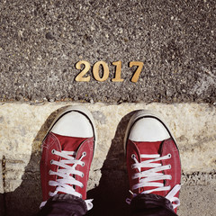 man feet and number 2017, as the new year