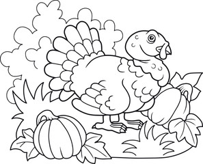 cartoon fat turkey walking on the farm