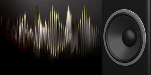 Speaker and sound wave on black background. 3d illustration