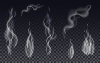 Realistic cigarette smoke waves or steam on transparent background.