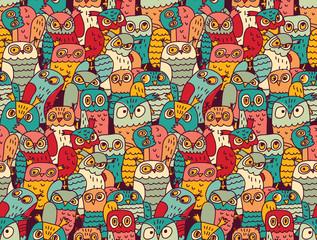 Estores personalizados com sua foto Funny owls birds group color seamless pattern