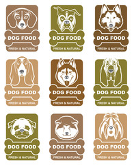 collection of various food labels with dogs heads