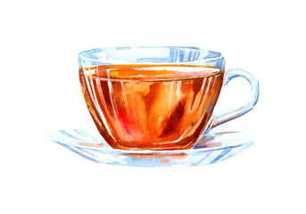 Glass cup of a black tea. Drink painting. Watercolor hand drawn illustration.