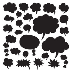 Set of speech bubbles and thought clouds. Black shapes isolated on white. Vector symbols in eps8.