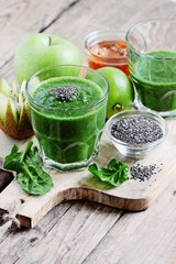 Green fruits spinach smoothie with chia seeds.Super foods and healthy eating concept.Selective focus