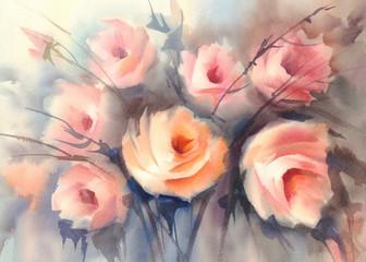 roses orange bouquet watercolor