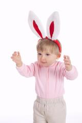cute little girl with rabbit ears