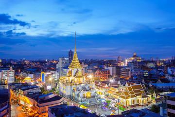 Poster Bangkok Top view cityscape Wat Trimitr in chinatown or yaowarat area in bangkok city, Bangkok, Thailand