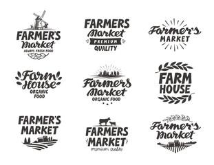 Farmers market, vector logo. Farm, farming icons set