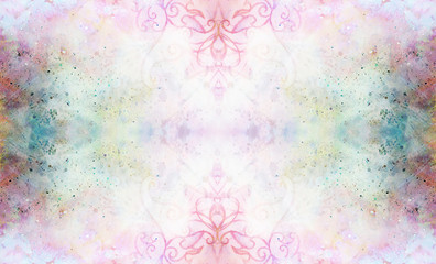 ornamental pattern on multicolor abstract background with spots.