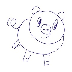 pig ,contour,  pen drawing, vector icon