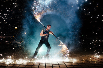 Amazing Fire Show at night Wall mural
