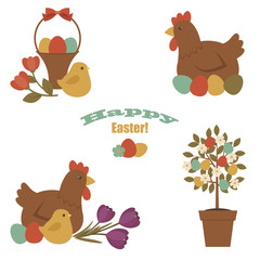 Easter vector icons set