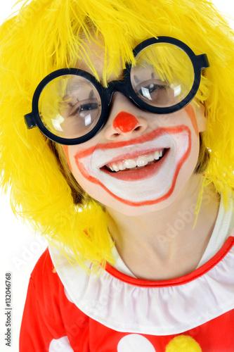Kind Als Clown Verkleidet Zu Karneval Fasching Und Fastnacht Lacht