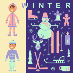 Set of winter children clothes illustrations. Collection with snowman, Christmas bell, reindeer, skiing, luge, skating, snowflakes and children. Vector elements for banner design of seasonal sell.