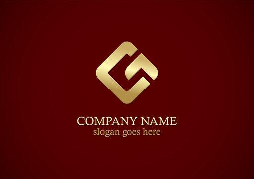 square shape letter g gold logo