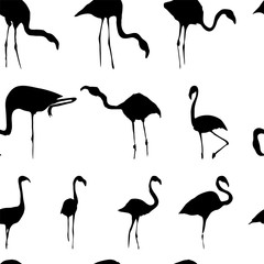 Silhouette of flamingos seamless pattern black white