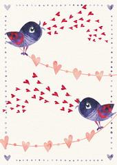 Valentine card. Love birds. Valetnine day concept.