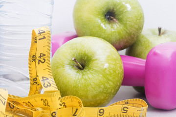 top view of ingredients in the diet and weight loss, health and wellness