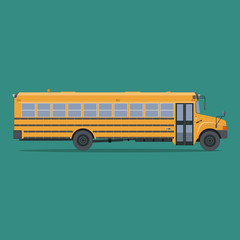 Isolated school bus in flat style. Side view.