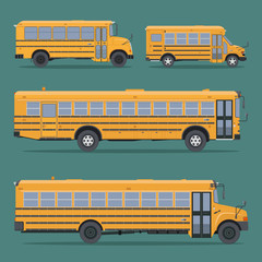 Set school buses in flat style.Side view.