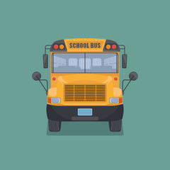 Isolated school bus in flat style.Front view.