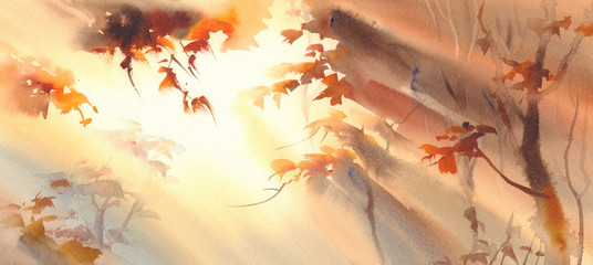 sun rays in the golden forest watercolor